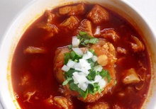 Mexican soup with garnish